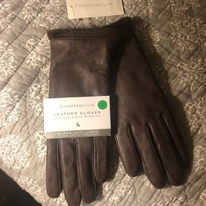Charter Club Leather brown gloves - size Large